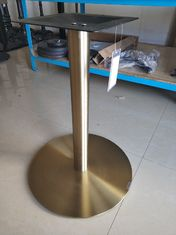 China Colorful Stainless Steel Table Legs Round Base Commercial Furniture Gloden Color supplier